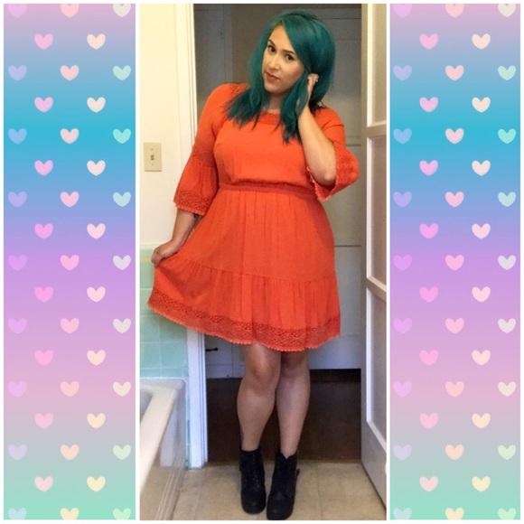 Lane Bryant Dresses & Skirts - Lane Bryant Orange Mini Peasant Dress Size 14/16